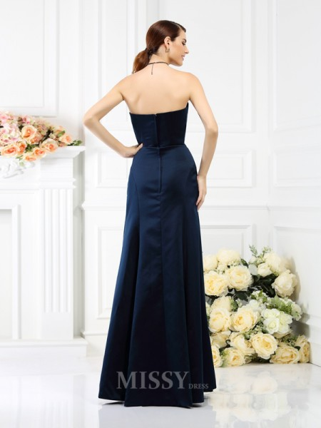 Sheath/Column Strapless Floor-Length Satin Bridesmaid Dress With Lace