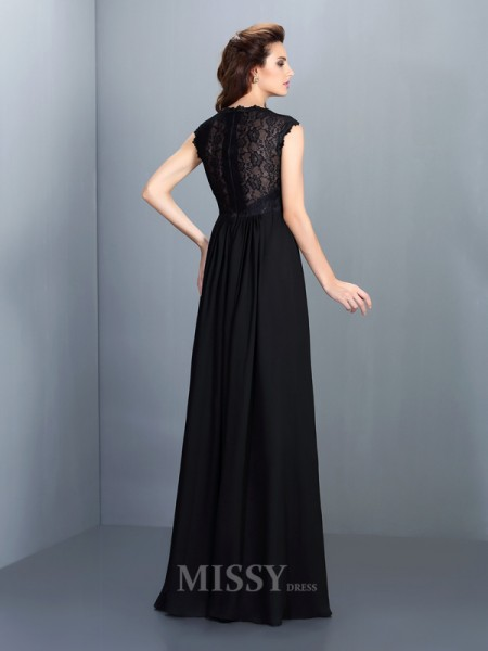 A-Line/Princess Scoop Floor-Length Chiffon Lace Dress With Embroidery