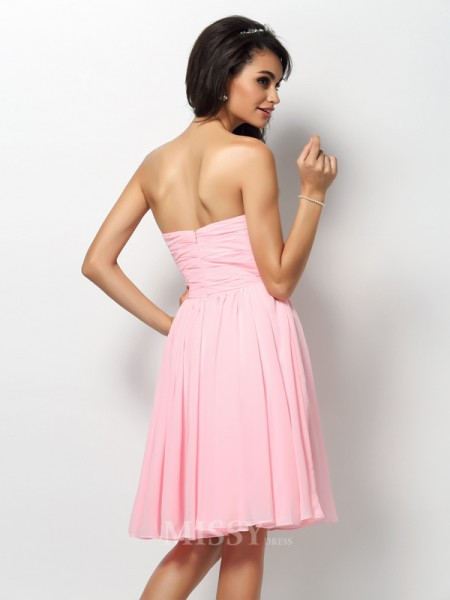A-Line/Princess Strapless Knee-Length Chiffon Bridesmaid Dress With Rhinestone Pleats