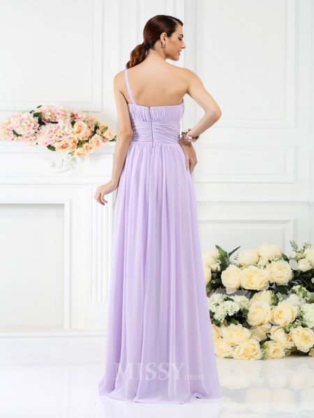 A-Line/Princess One-Shoulder Floor-Length Chiffon Bridesmaid Dress With Embroidery Pleats
