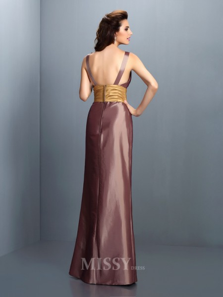 Sheath/Column V-neck Floor-Length Taffeta Dress With Sash Pleats