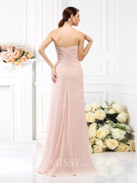 A-Line/Princess Strapless Floor-Length Chiffon Bridesmaid Dress With Rhinestone Pleats