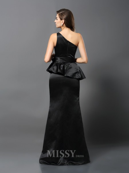 Trumpet/Mermaid One-Shoulder Floor-Length Satin Dress With Ruffles Bowknot