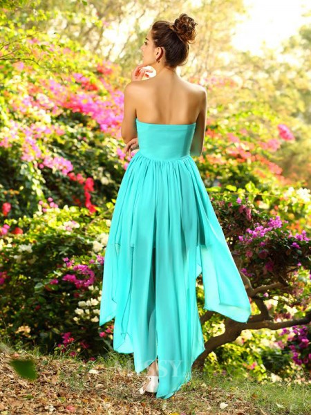 A-Line/Princess Sweetheart Chiffon Asymmetrical Beading Dress With Sash