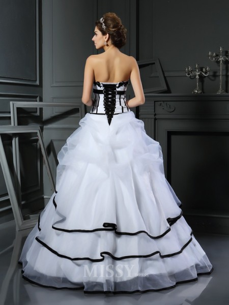 Ball Gown Sweetheart Satin Floor-Length Wedding Dress With Applique