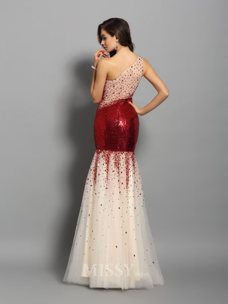 Trumpet/Mermaid One-Shoulder Sequins Floor-Length Dress With Ruched