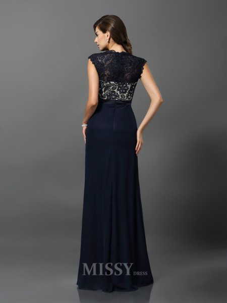 Sheath/Column Short Sleeves Chiffon Jewel Floor-Length Lace Dress With Ruffles