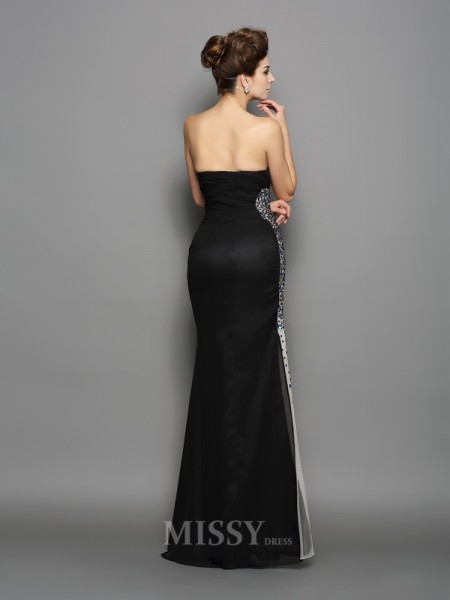 Trumpet/Mermaid Sweetheart Chiffon Floor-Length Dress With Beading Ruched