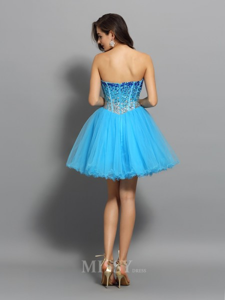 A-Line/Princess Sweetheart Ruffles Short/Mini Satin Dress With Pleats