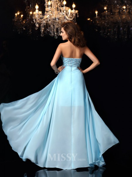 A-Line/Princess Sweetheart Chiffon Floor-Length Dress With Sash