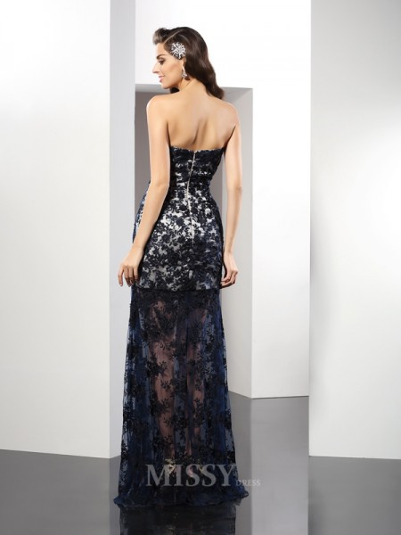 Sheath/Column Sweetheart Floor-Length Lace Satin Dress With Beading