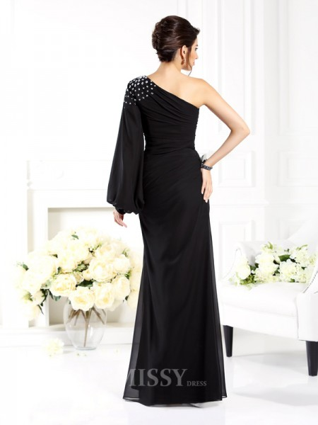 Sheath/Column One-Shoulder Long Sleeves Beading Floor-Length Chiffon Dress With Lace