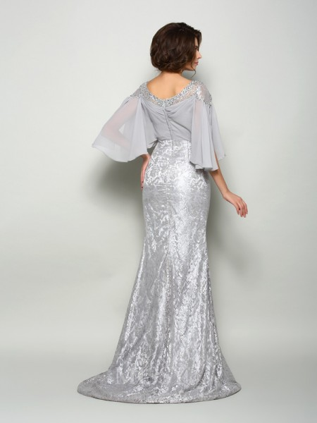 Trumpet/Mermaid Scoop 1/2 Sleeves Lace Chiffon Sweep/Brush Train Mother Of The Bride Dress With Sash