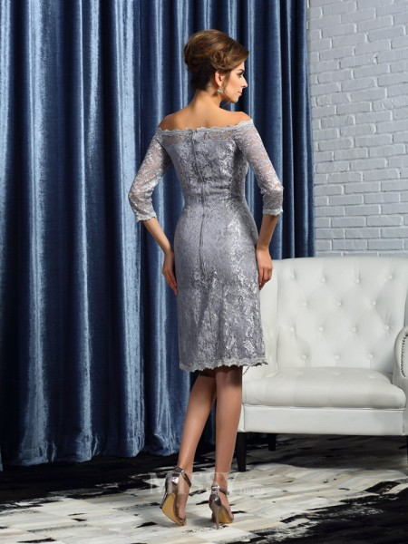 Sheath/Column Off-the-Shoulder Satin 1/2 Sleeves Knee-Length Lace Mother Of The Bride Dress With Ruffles
