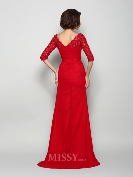 A-Line/Princess 1/2 Sleeves V-neck Chiffon Sweep/Brush Train Mother Of The Bride Dress With Beading