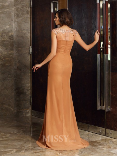 Sheath/Column Scoop Chiffon Beading Applique Sweep/Brush Train Mother Of The Bride Dress With Ruched