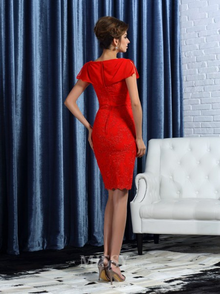 Sheath/Column Short Sleeves Satin Bateau Knee-Length Lace Mother Of The Bride Dress With Sash