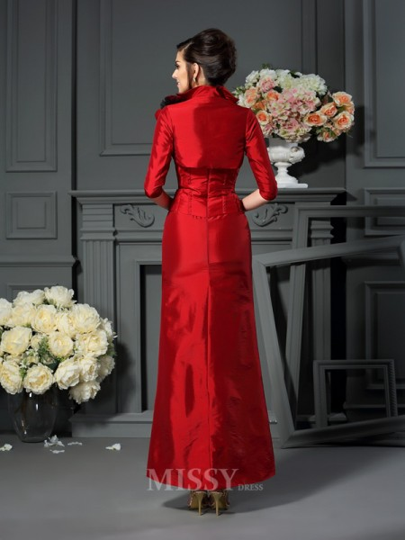 A-Line/Princess Strapless Hand-Made Flower Ankle-Length Taffeta Mother Of The Bride Dress With Ruched