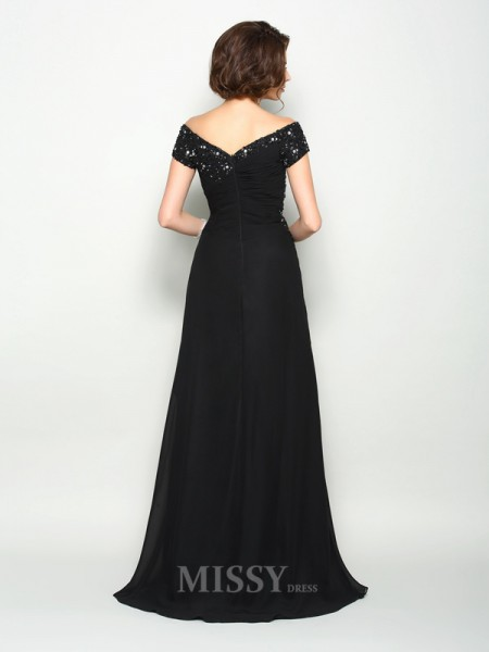 A-Line/Princess Off-the-Shoulder Short Sleeves Chiffon Sweep/Brush Train Mother Of The Bride Dress With Sash Beading