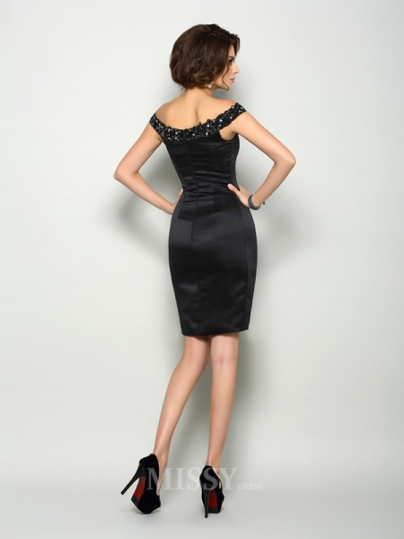 Sheath/Column Off-the-Shoulder Satin Knee-Length Mother Of The Bride Dress With Beading