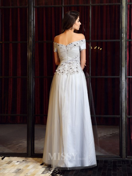 A-Line/Princess Short Sleeves Net Off-the-Shoulder Floor-Length Dress With Ruffles
