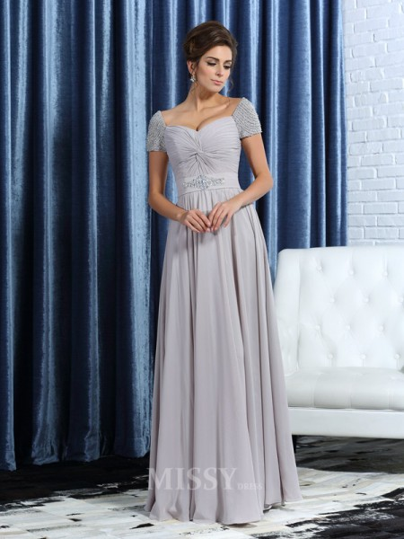 A-Line/Princess Sweetheart Short Sleeves Ankle-Length Chiffon Mother Of The Bride Dress With Sash Beading