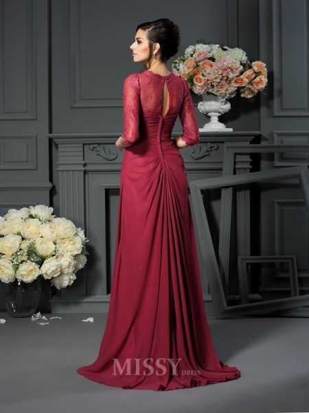A-Line/Princess Scoop 1/2 Sleeves Floor-Length Chiffon Mother Of The Bride Dress With Beading Applique
