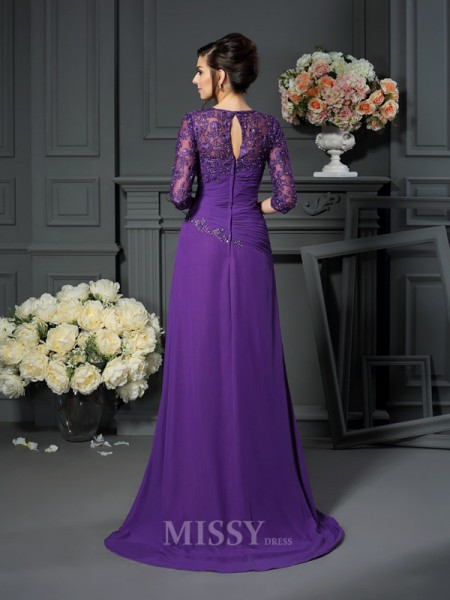 A-Line/Princess Sweetheart 1/2 Sleeves Floor-Length Chiffon Mother Of The Bride Dress With Applique