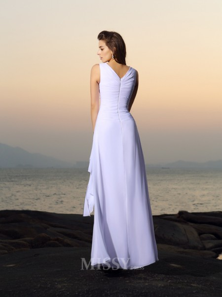 A-Line/Princess V-neck Chiffon Pleats Floor-length Wedding Dress With Ruched