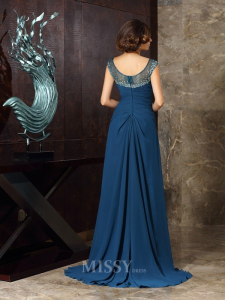 A-Line/Princess Scoop Sweep/Brush Train Chiffon Mother Of The Bride Dress With Embroidery Beading