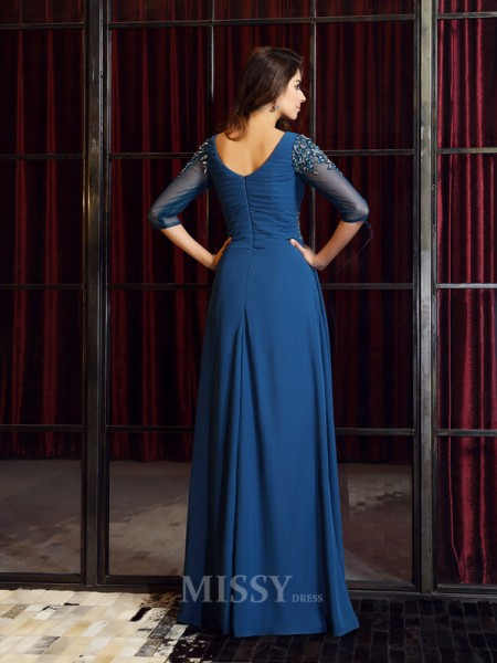 A-Line/Princess 1/2 Sleeves Square Chiffon Floor-Length Ruched Dress With Lace