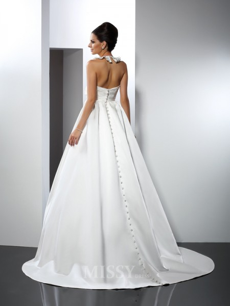 A-Line/Princess Halter Chapel Train Satin Wedding Dress With Pleats Hand-Made Flower