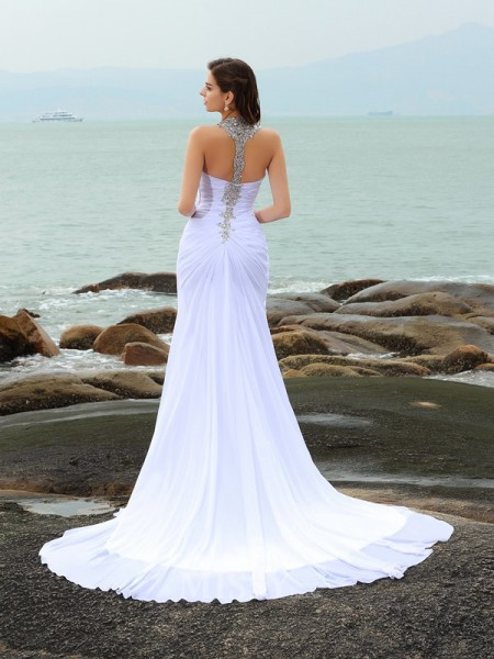 Sheath/Column Chiffon Straps Chapel Train Wedding Gown With Applique