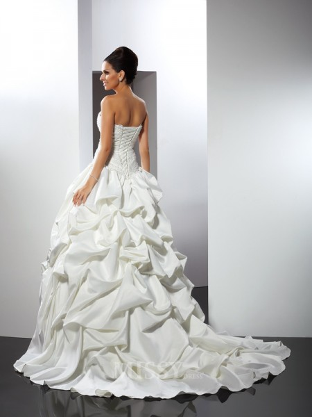 Ball Gown Strapless Cathedral Train Satin Wedding Dress With Ruffles