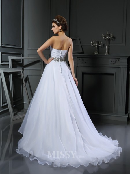 Ball Gown Sweetheart Satin Court Train Wedding Dress With Ruffles