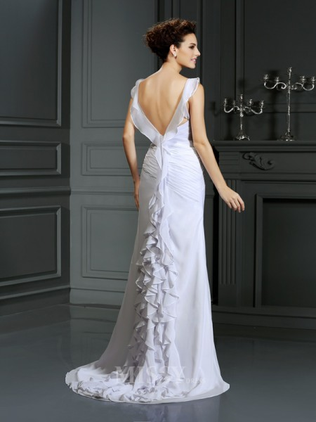 Trumpet/Mermaid Straps Court Train Chiffon Wedding Dress With Beading