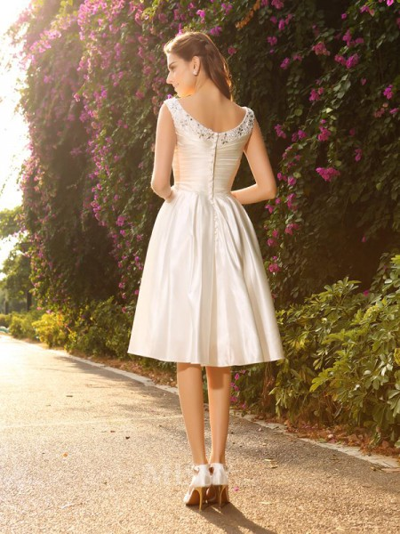 A-Line/Princess V-neck Satin Knee-Length Wedding Dress With Ruffles