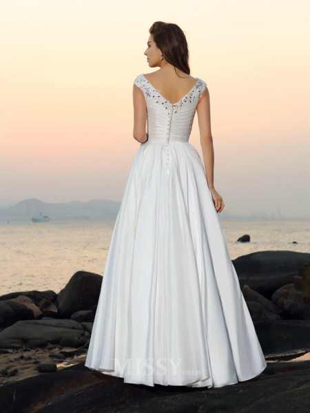 A-Line/Princess V-neck Taffeta Floor-Length Wedding Dress With Beading Applique