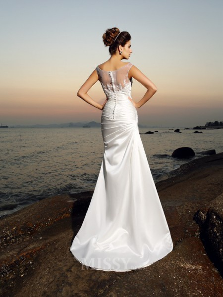 Trumpet/Mermaid Scoop Satin Sweep/Brush Train Wedding Dress With Applique Beading