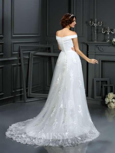 A-Line/Princess Off the Shoulder Court Train Net Wedding Dress With Rhinestone Applique