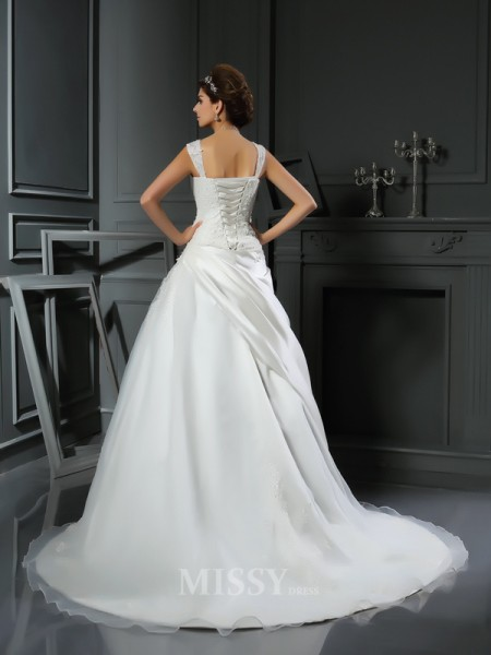 Ball Gown Satin Straps Chapel Train Wedding Dress With Sash Applique