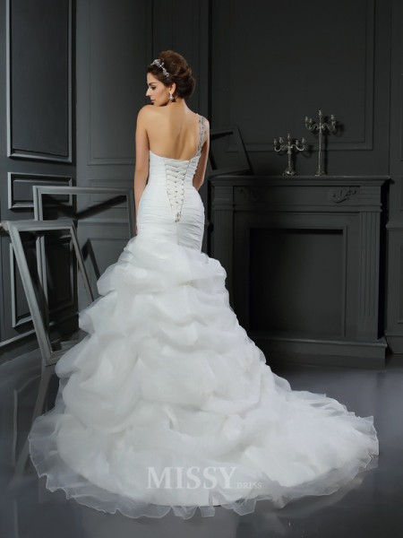 Trumpet/Mermaid Satin Chapel Train Wedding Dress With Sash Ruffles
