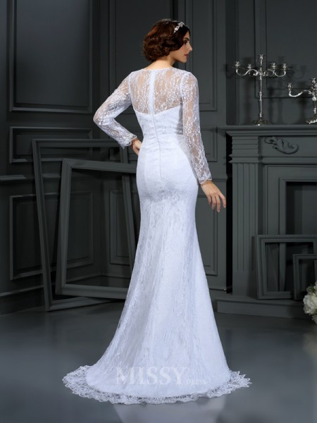 Sheath/Column Scoop Long Sleeves Lace Satin Court Train Wedding Dress With Ruffles
