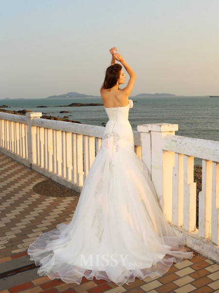 Ball Gown Chapel Train Strapless Satin Wedding Dress With Beading Hand-Made Flower