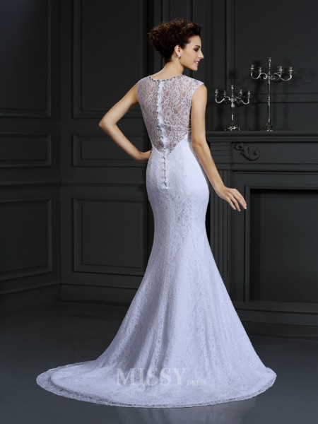 Sheath/Column V-neck Lace Court Train Satin Wedding Dress With Lace