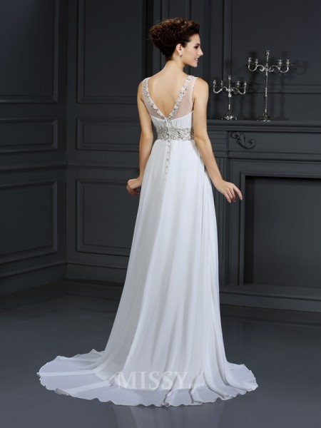 A-Line/Princess Bateau Chapel Train Chiffon Wedding Dress With Embroidery Ruffles