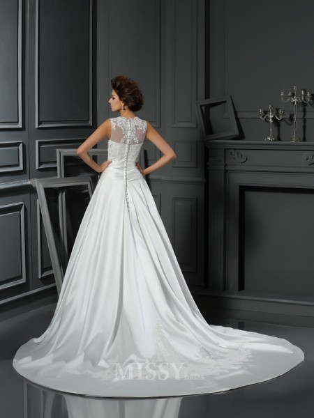 A-Line/Princess High Neck Chapel Train Satin Wedding Dress With Rhinestone Applique