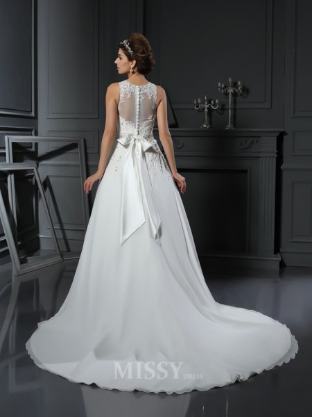 A-Line/Princess High Neck Satin Chapel Train Wedding Gown With Pleats Applique