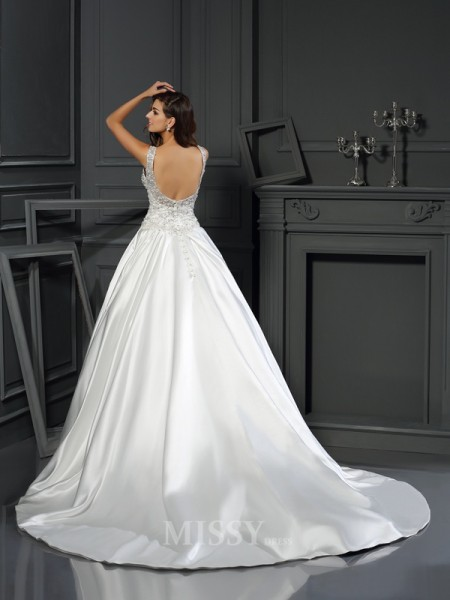 Ball Gown Scoop Satin Chapel Train Wedding Dress With Sash Applique