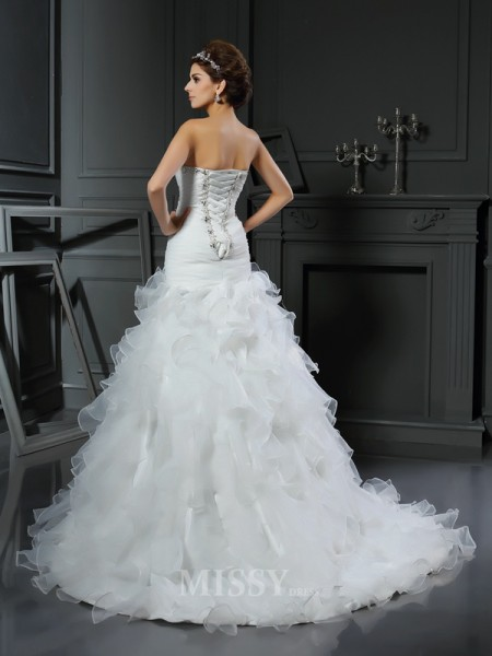 Trumpet/Mermaid Sweetheart Organza Chapel Train Wedding Dress With Beading Ruffles